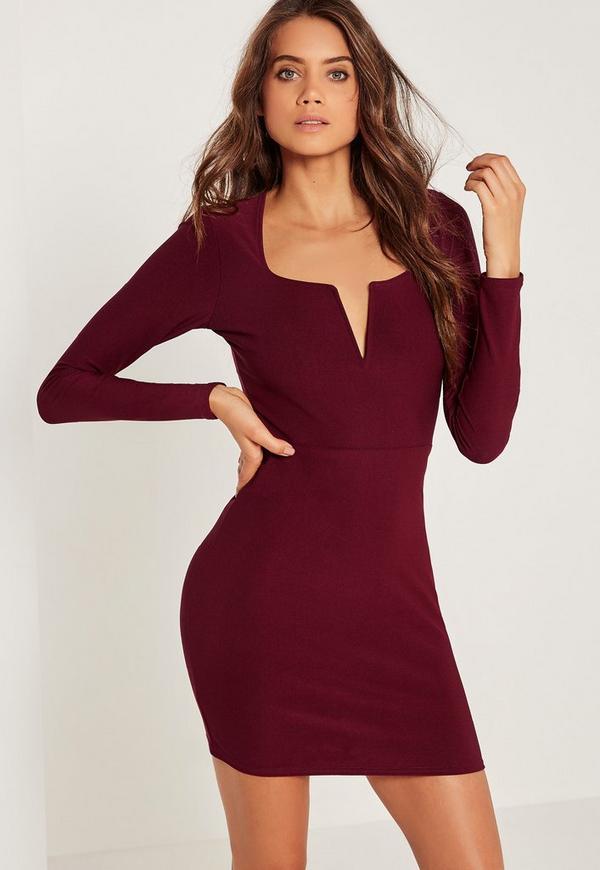 V Bar Plunge Long Sleeve Bodycon Dress Burgundy