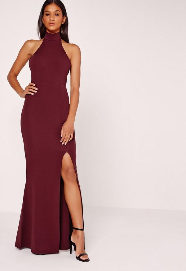 High Neck Halter Maxi Dress Purple