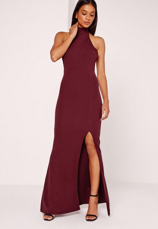 High Neck Halter Maxi Dress Purple | Missguided