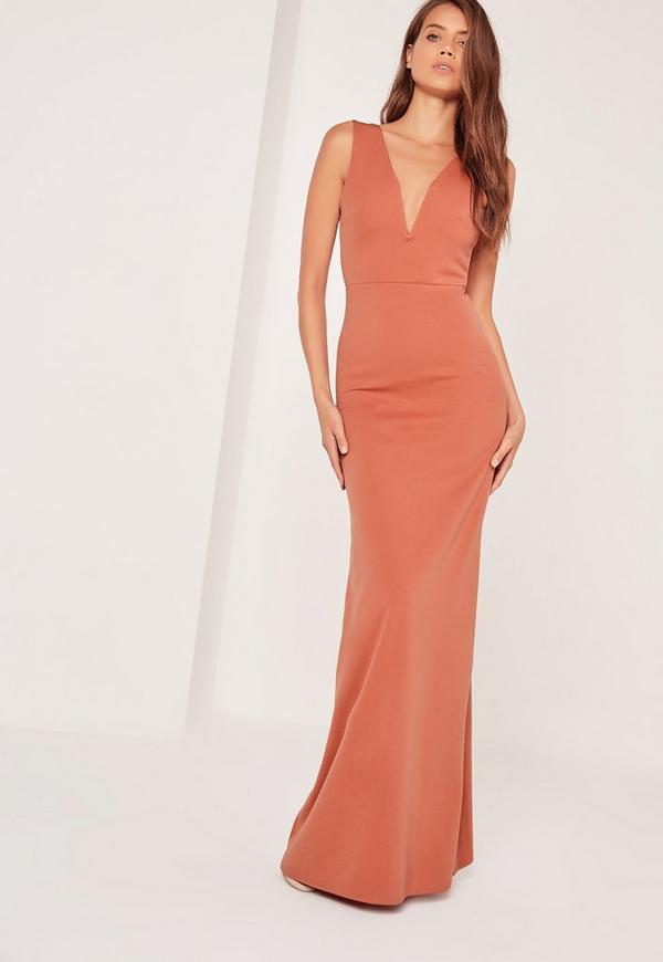 V Plunge Maxi Dress Orange