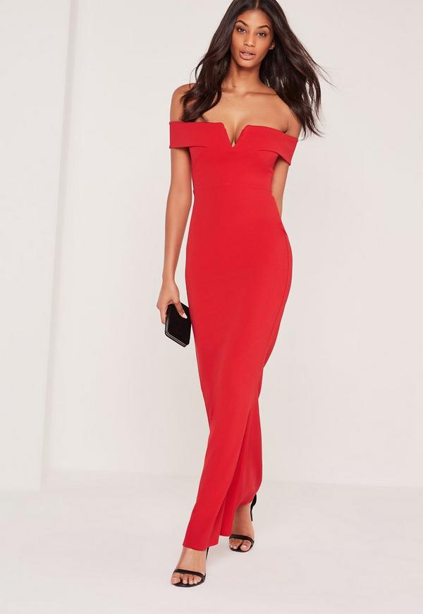 Bardot Crepe V Plunge Maxi Dress Red | Missguided