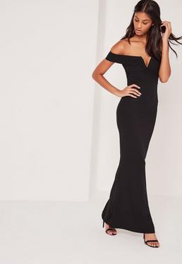 black velvet bardot v plunge maxi dress