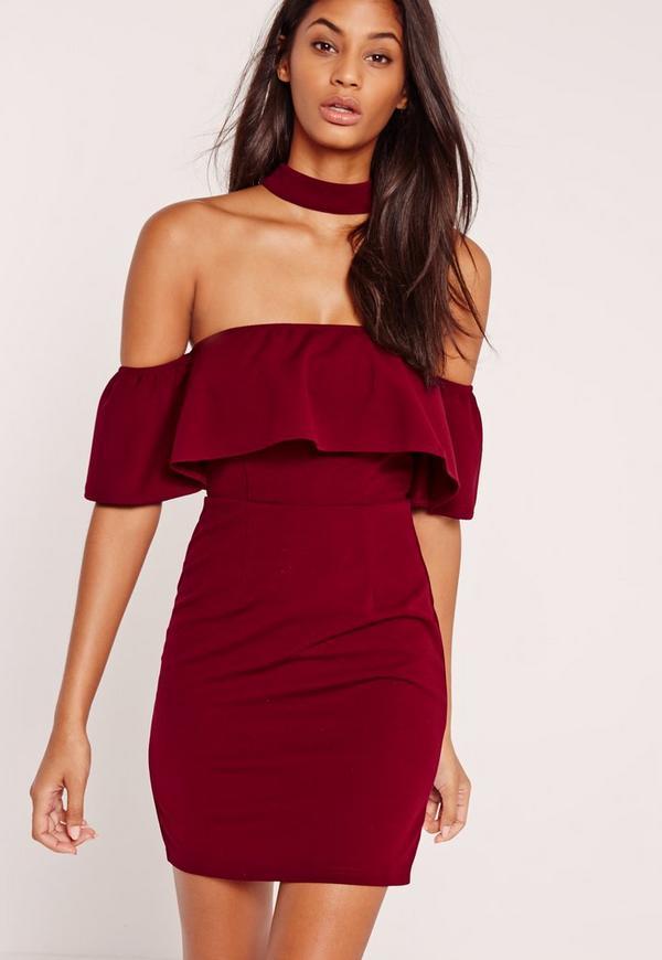 Choker Neck Bardot Frill Shift Dress Burgundy