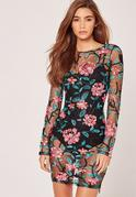 Floral Embroidered Mesh Bodycon Dress Black