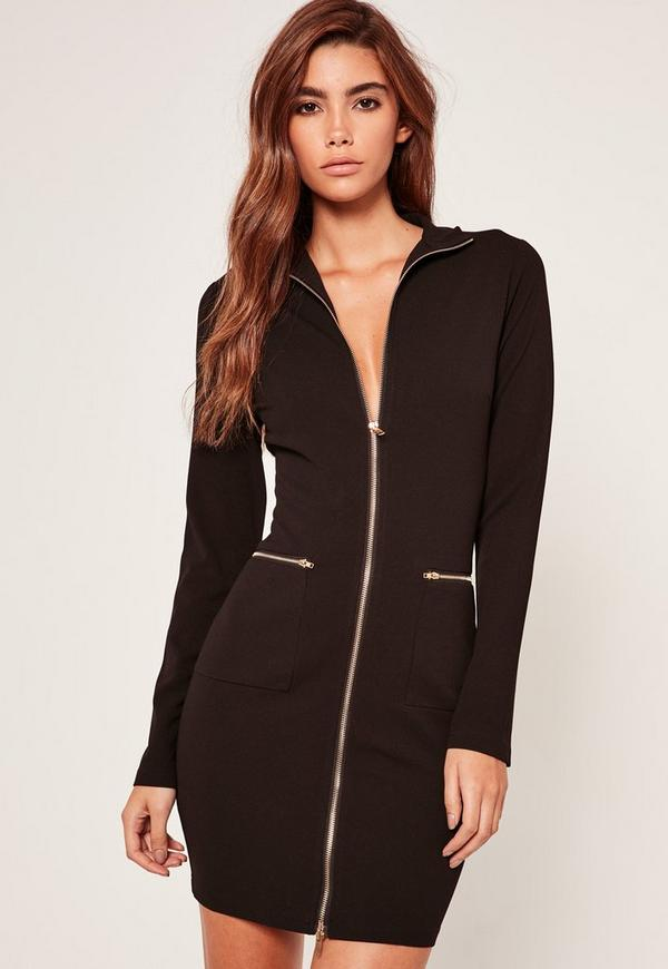 High Neck Zip Up Bodycon Dress Black