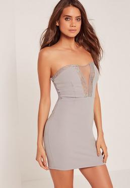 Lace Insert Bandeau Bodycon Dress Grey