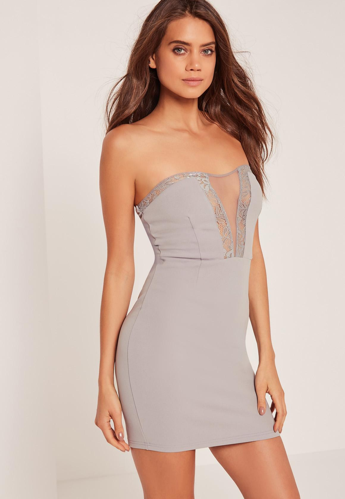 Lace Insert Bandeau Bodycon Dress Grey | Missguided