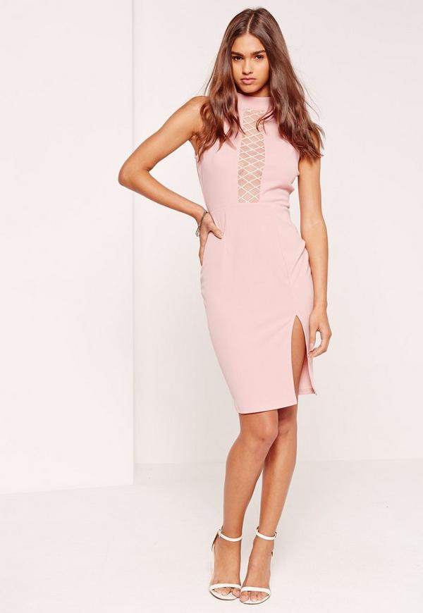 High Neck Mesh Insert Midi Dress Pink