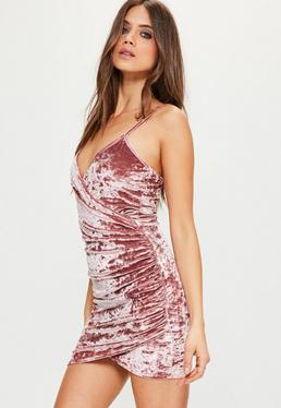 Pink Crushed Velvet Wrap Strappy Dress