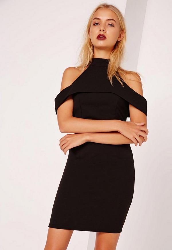 High Neck Frill Bodycon Dress Black