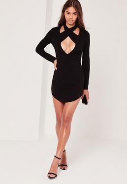 Halterneck Plunge Curve Hem Bodycon Dress Black