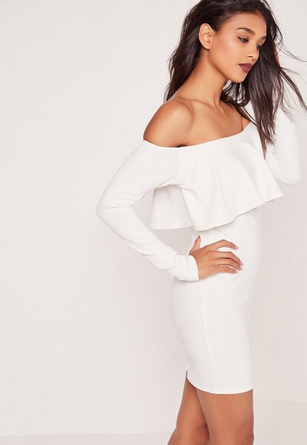 Long Sleeve Frill Bardot Bodycon Dress White
