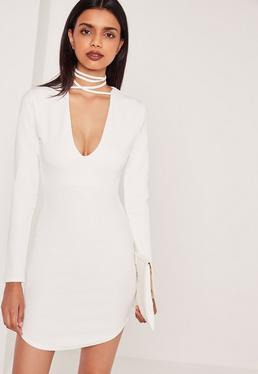 Curve Hem Tie Neck Bodycon Dress White