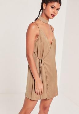 Robe portefeuille soyeuse nude Sarah Ashcroft