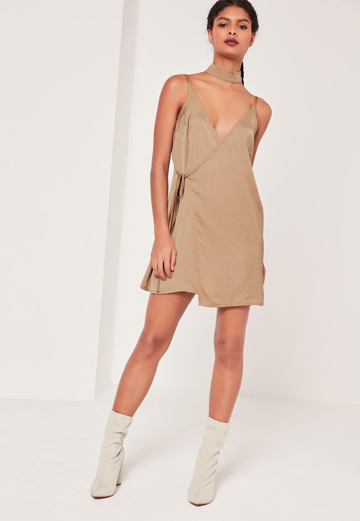 2 Piece Choker Silky Wrap Dress Nude