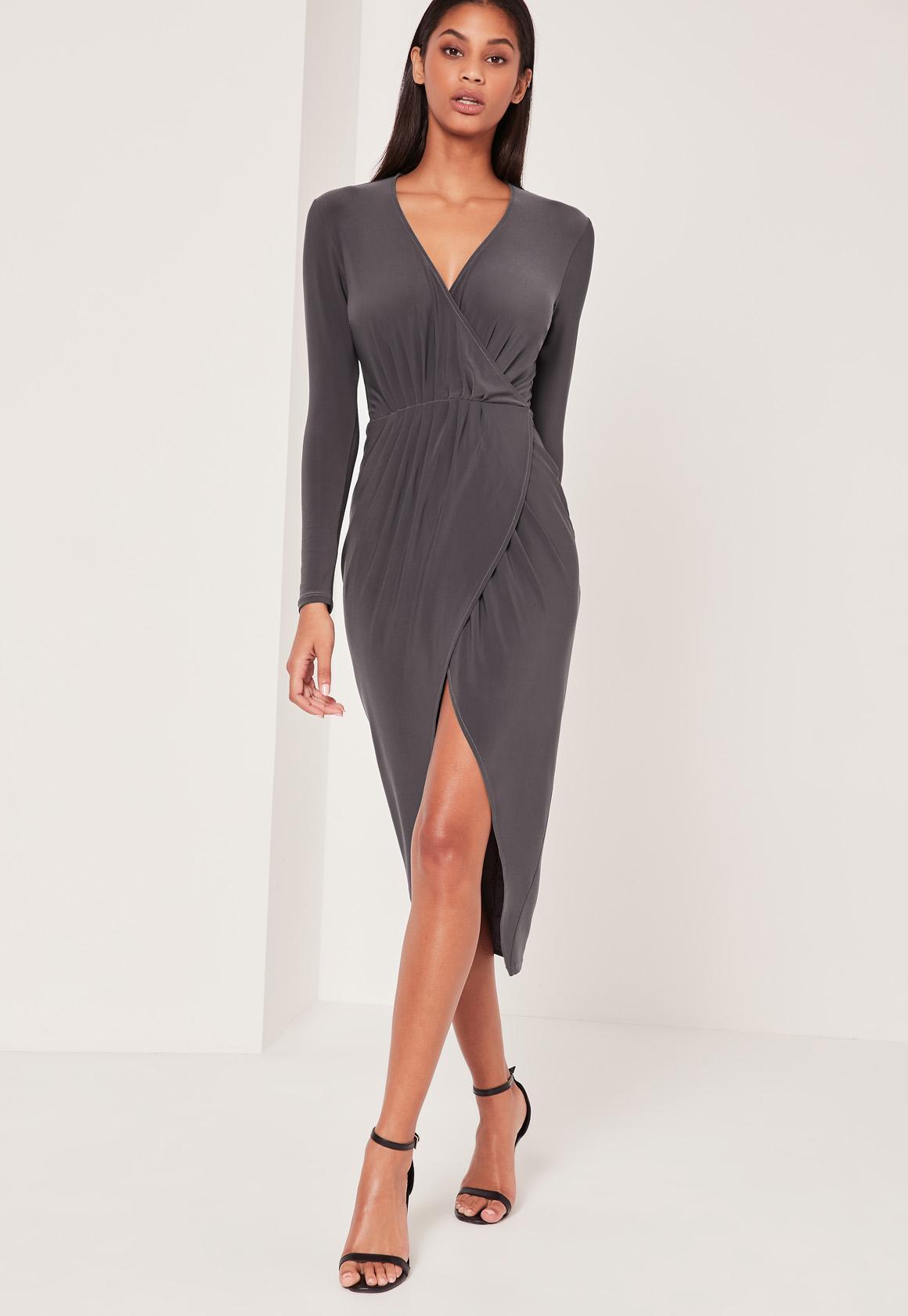 Pleated Wrap Ankle Length Dress Grey