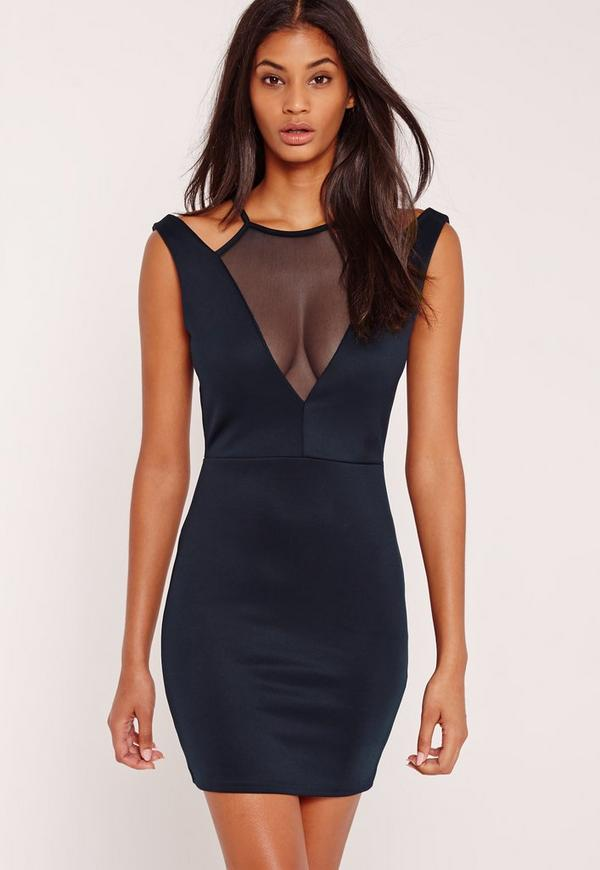 Mesh Insert Plunge Bodycon Dress Navy