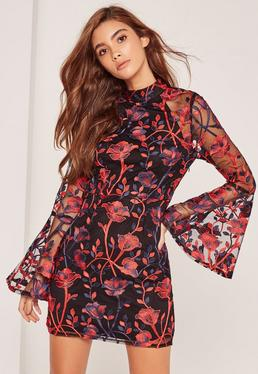 Black Premium Floral Embroidered Flute Sleeve Mini Dress