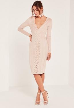 Nude Plunge Lace Detail Suede Midi Dress