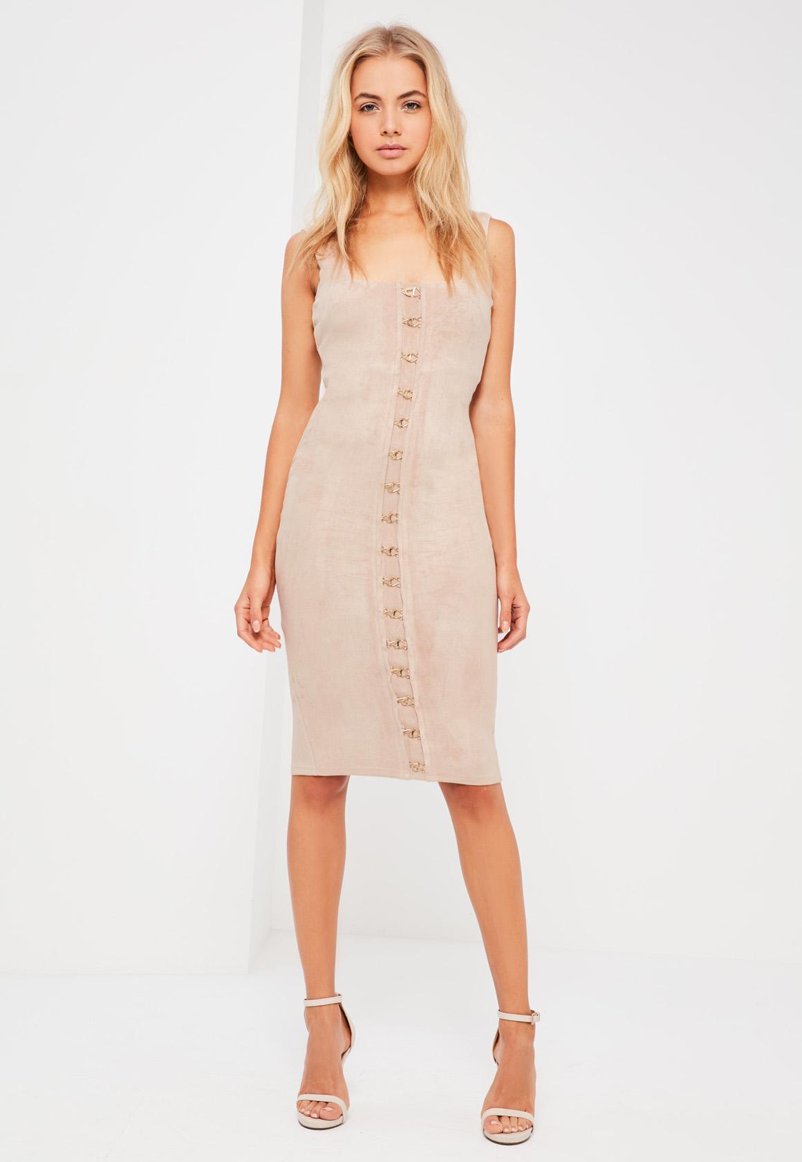 Nude Suede Eyelet Detail Midi Dress