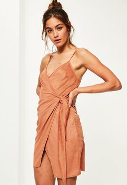 Orange Faux Suede Wrap Tie Shift Dress