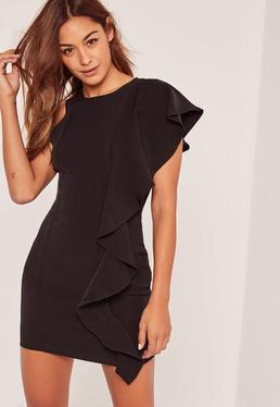 Black Frill Shoulder Mini Dress