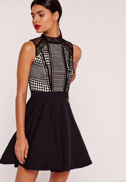Lace Top Skater Dress Black