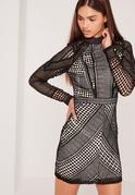 Premium Structured High Neck Lace Mini Dress Black