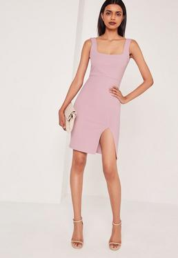 Square Neck Side Split Midi Dress Lilac