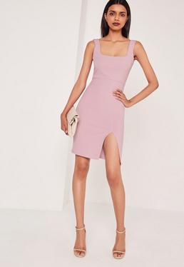 Square Neck Side Split Midi Dress Lilac