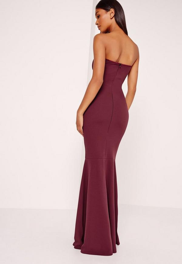 Scuba Bandeau Fishtail Maxi Dress Burgundy | Missguided