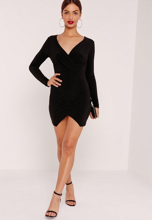 Slinky Wrap Plunge Bodycon Dress Black
