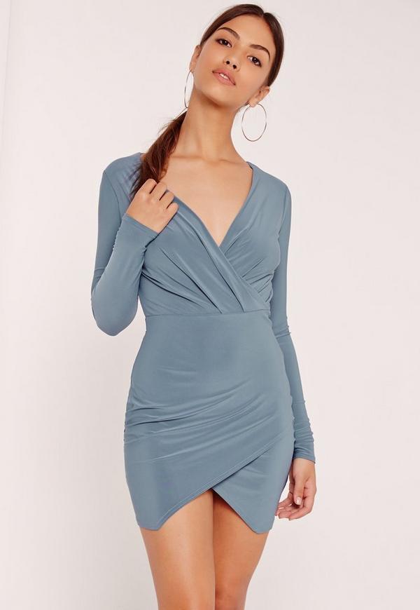 Slinky Wrap Plunge Bodycon Dress Blue