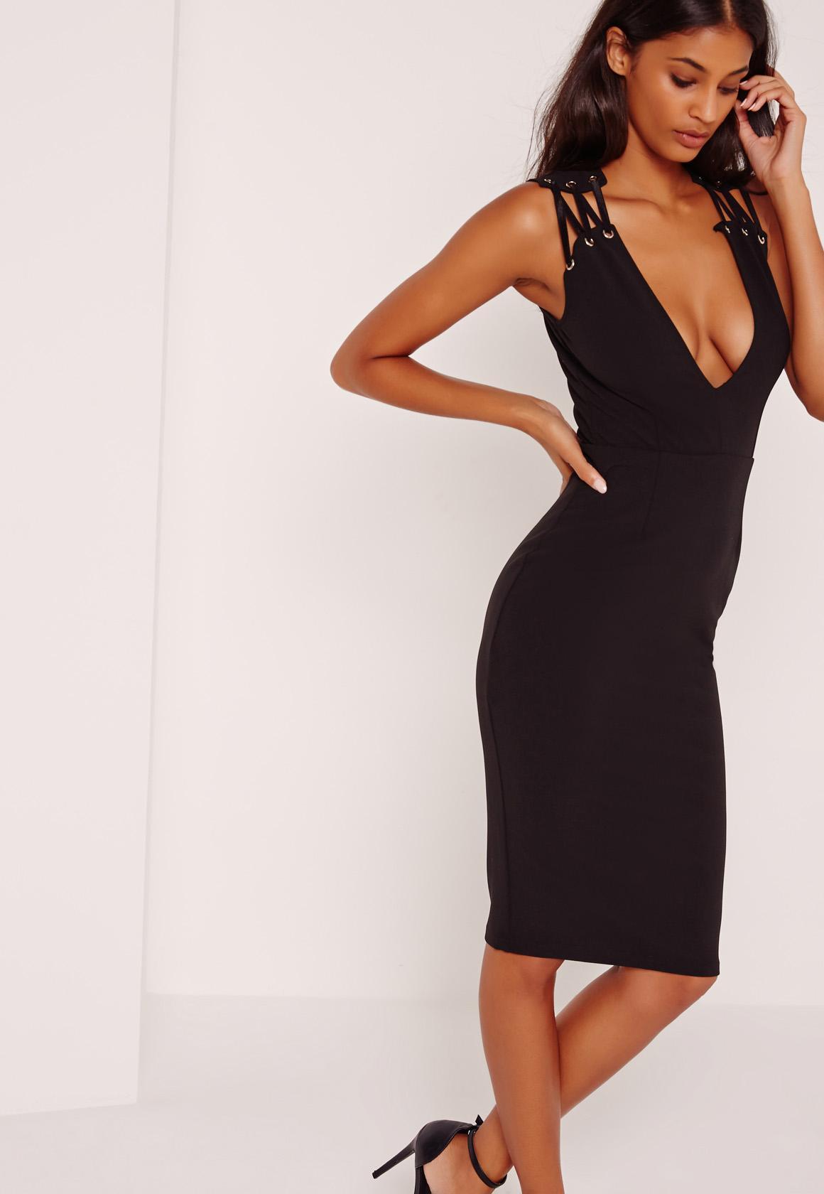 Eyelet Detail Sleeve Midi Dress Black