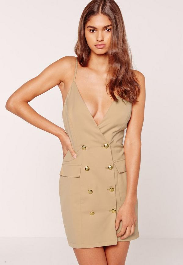 Strappy Gold Button Tux Detail Bodycon Dress Nude