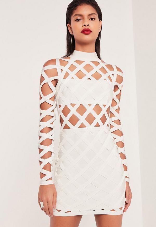 Premium Bandage Lattice Bodycon Dress White