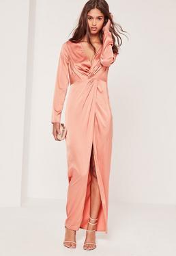 Satin Plunge Maxi Dress Pink