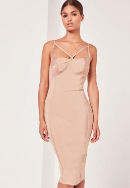 Premium Bandage Lace Trim Bust Cup Midi Dress Nude