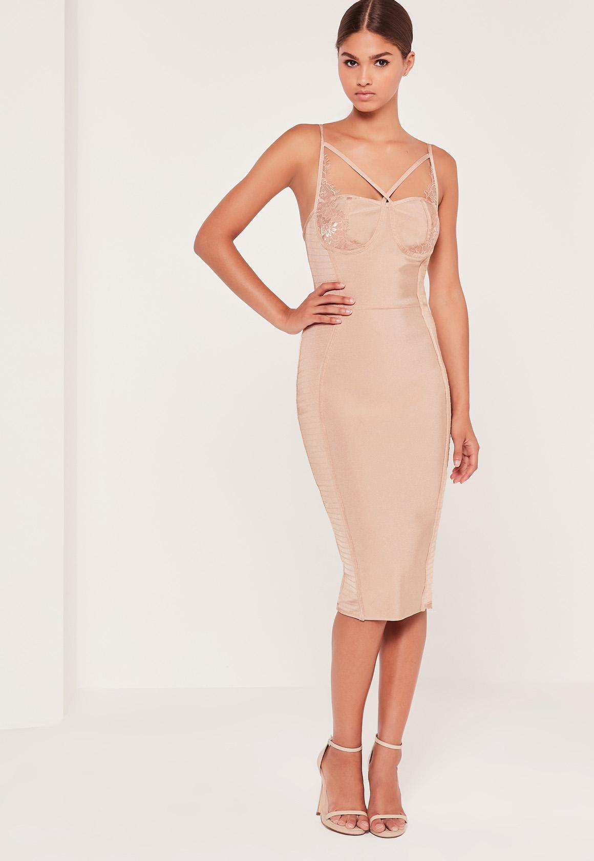 Premium Bandage Lace Trim Bust Cup Midi Dress Nude
