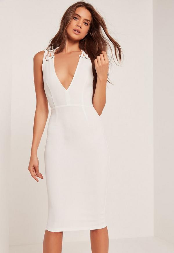 Eyelet Detail Sleeveless Midi Dress White