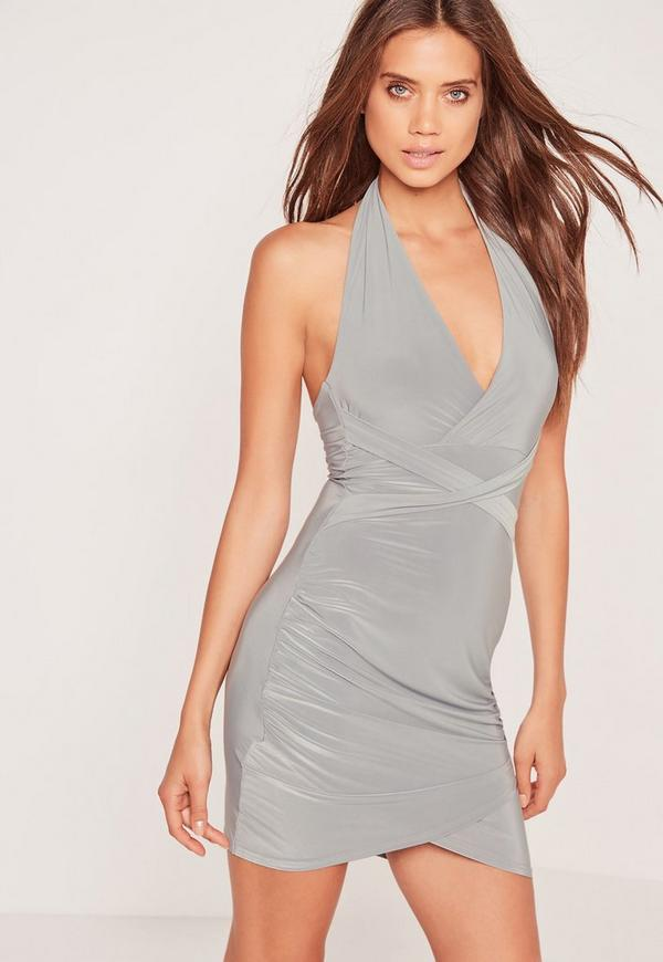 Wrap Waist Slinky Halterneck Dress Grey