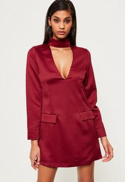 Silky Choker Neck Shift Dress Burgundy
