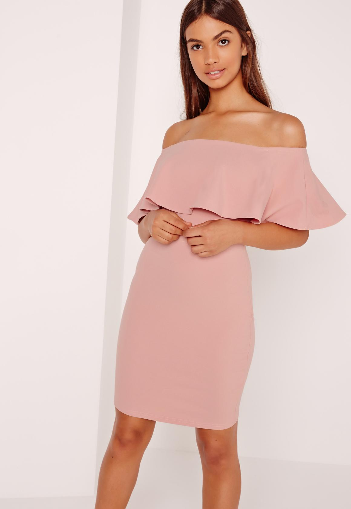 ... Frill Bardot Bodycon Dress Pink. Previous Next 6e879275b