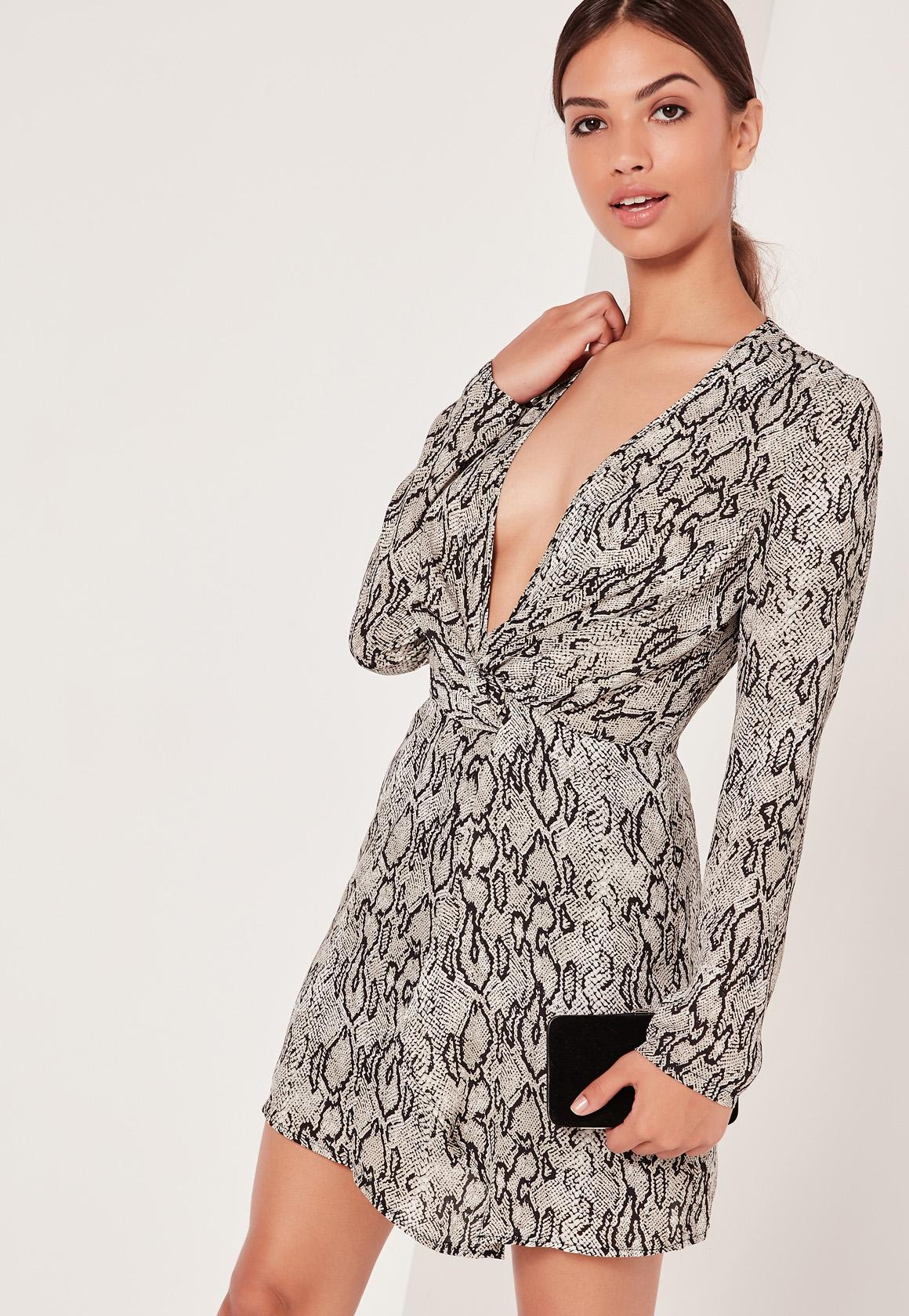 Silky Plunge Wrap Dress Snake Print