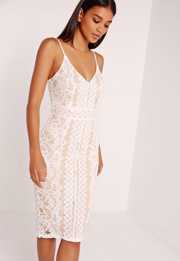 Strappy Lace Midi Dress White