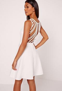 Multi Strap Back Skater Dress White