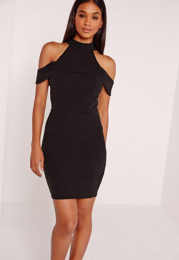Cold Shoulder Halterneck Bodycon Dress Black