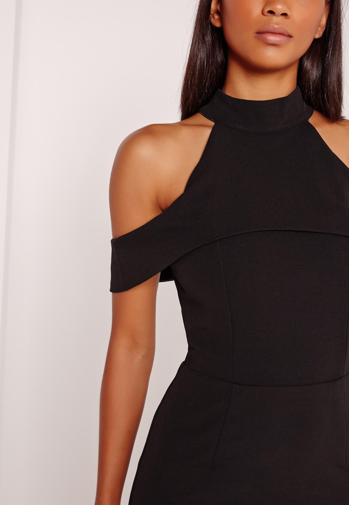Cold Shoulder Halterneck Bodycon Dress Black