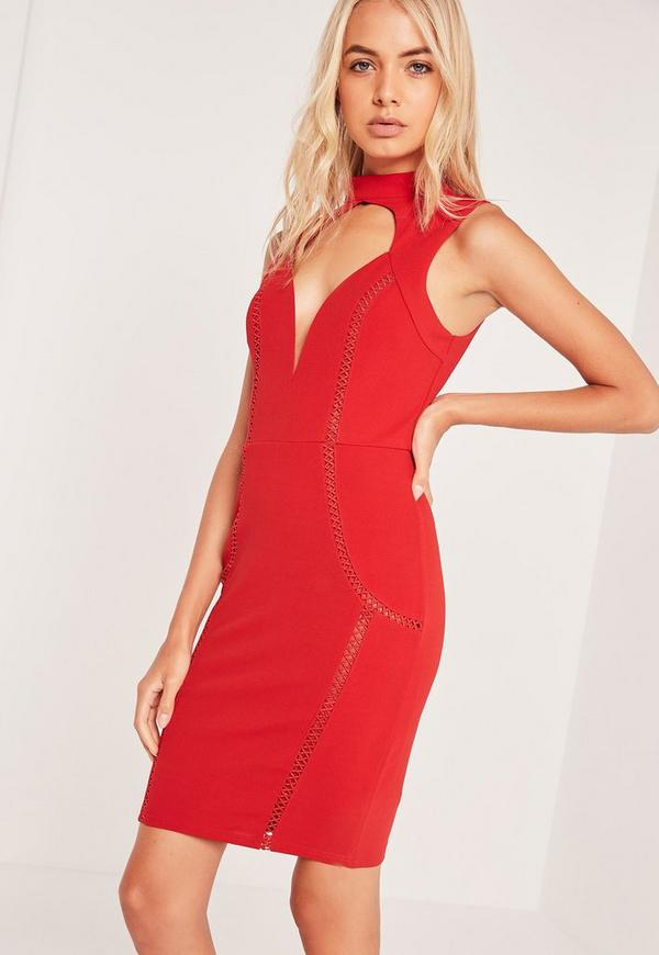 Choker Neck Sweetheart Dress Red