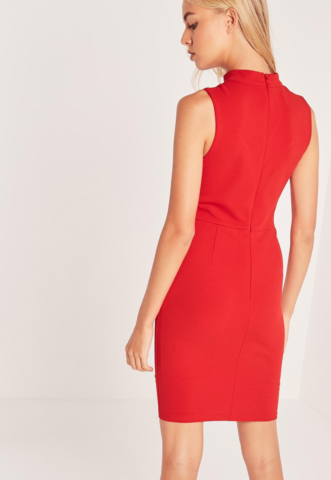 Choker Neck Sweetheart Dress Red